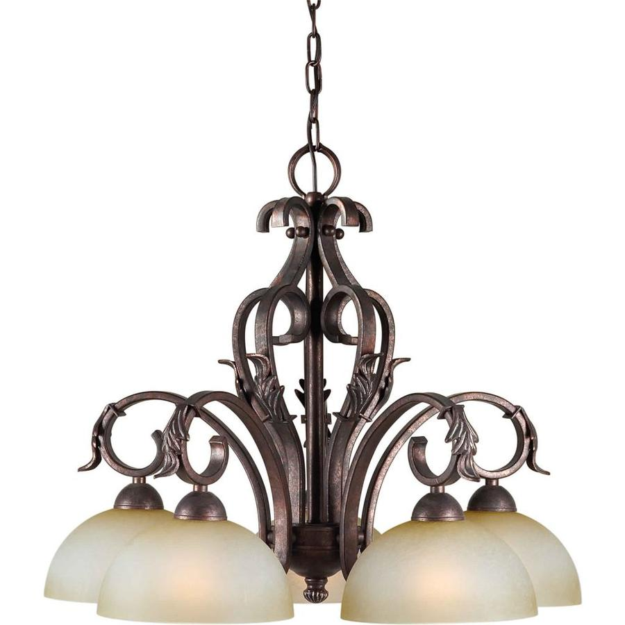 Shandy 25-in 5-Light Black Cherry Tinted Glass Candle Chandelier