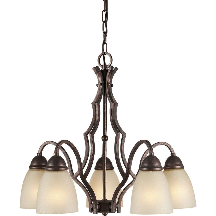Shandy 22-in 5-Light Black Cherry Tinted Glass Candle Chandelier