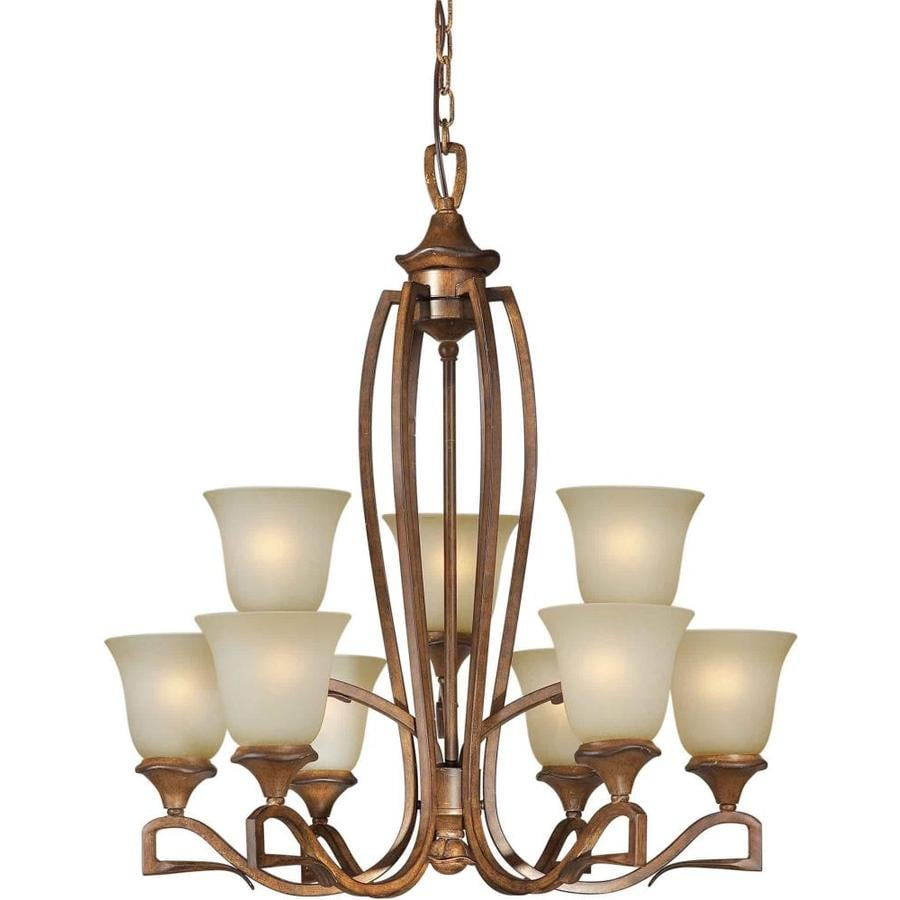 Shandy 28-in 9-Light Rustic Sienna Tinted Glass Tiered Chandelier