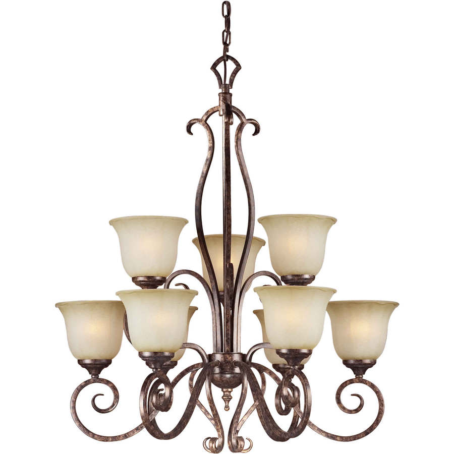 Shandy 29-in 9-Light Rustic Spice Tinted Glass Candle Chandelier