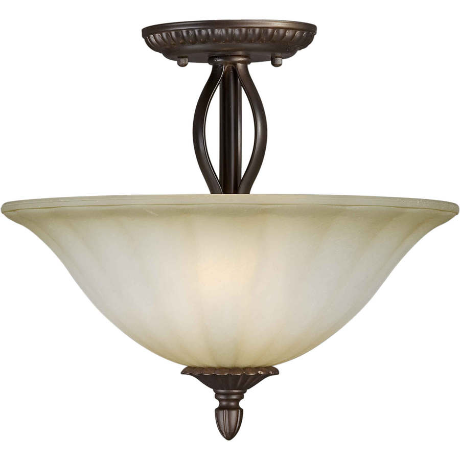 13-in W Antique Bronze Tea-Stained Glass Semi-Flush Mount Light