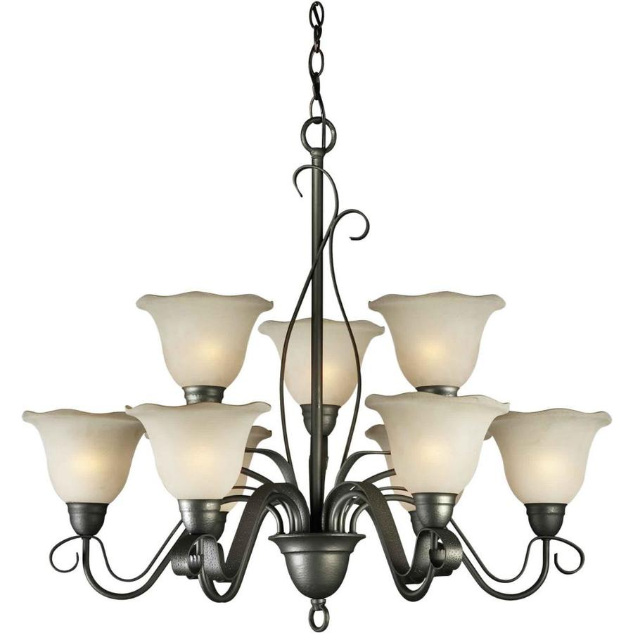Shandy 32-in 9-Light Natural iron Tinted Glass Candle Chandelier