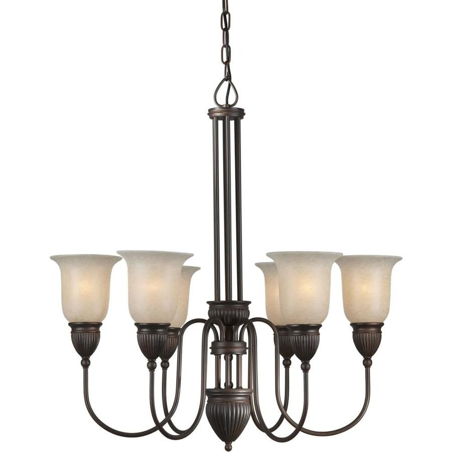 Shandy 29-in 6-Light Antique Bronze Tinted Glass Candle Chandelier