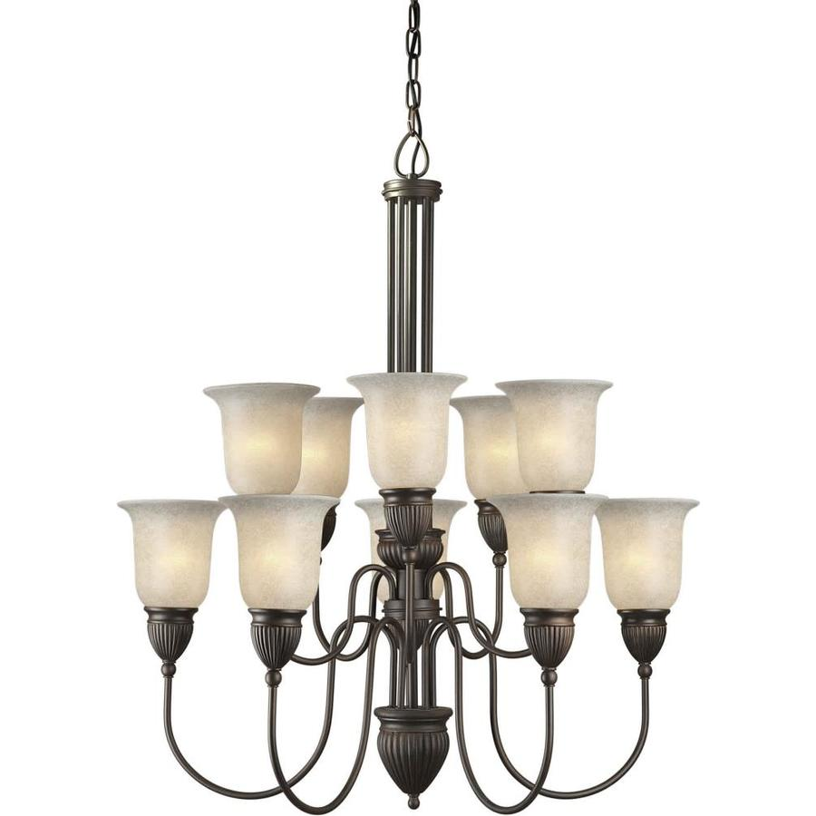 Shandy 31-in 10-Light Antique Bronze Tinted Glass Tiered Chandelier