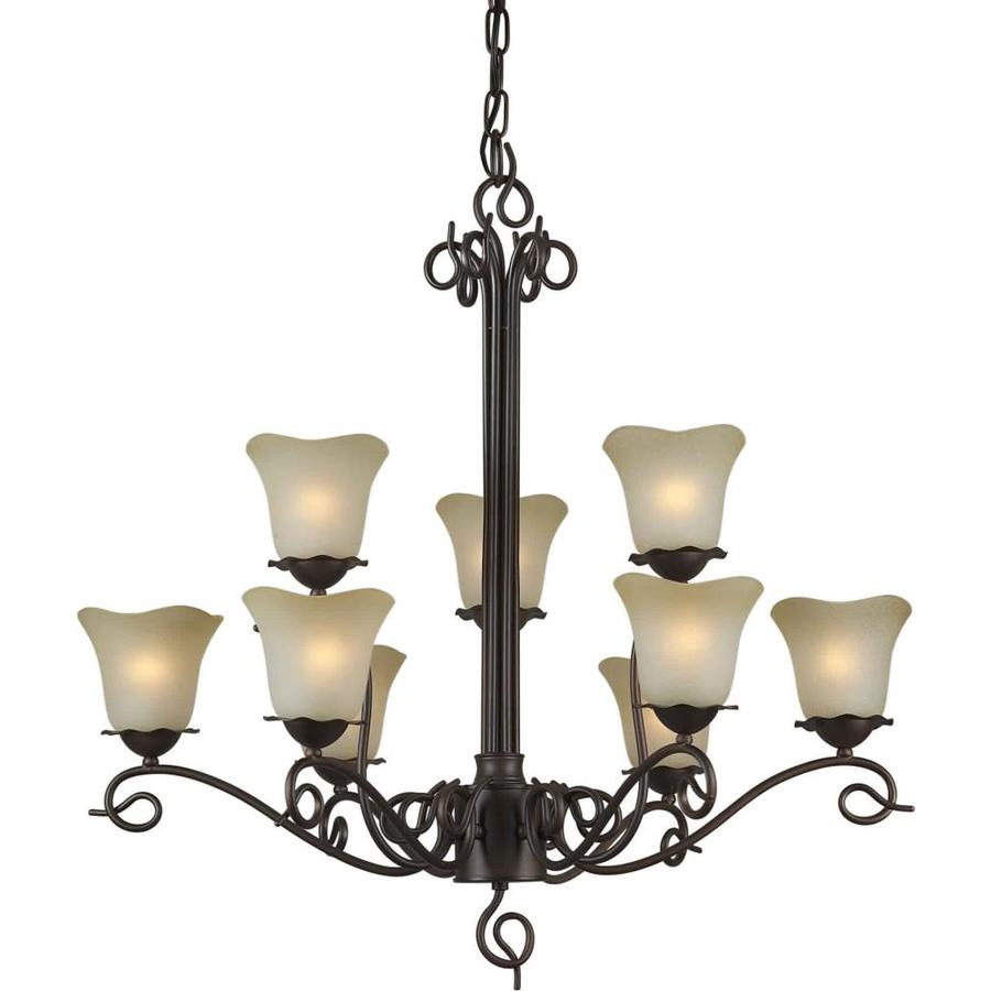 Shandy 32-in 9-Light Antique Bronze Tinted Glass Candle Chandelier