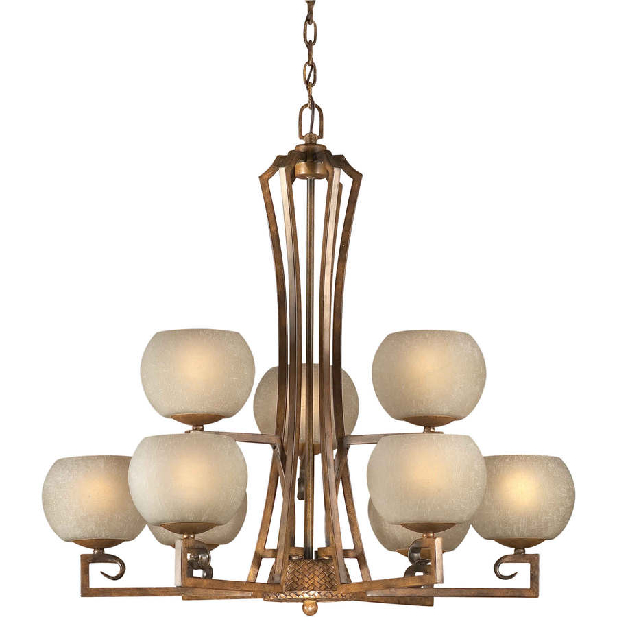 Shandy 32-in 9-Light Rustic Sienna Tinted Glass Candle Chandelier