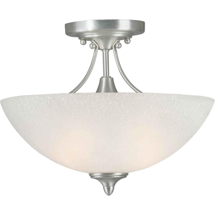 13.5-in W Brushed Nickel Frosted Glass Semi-Flush Mount Light