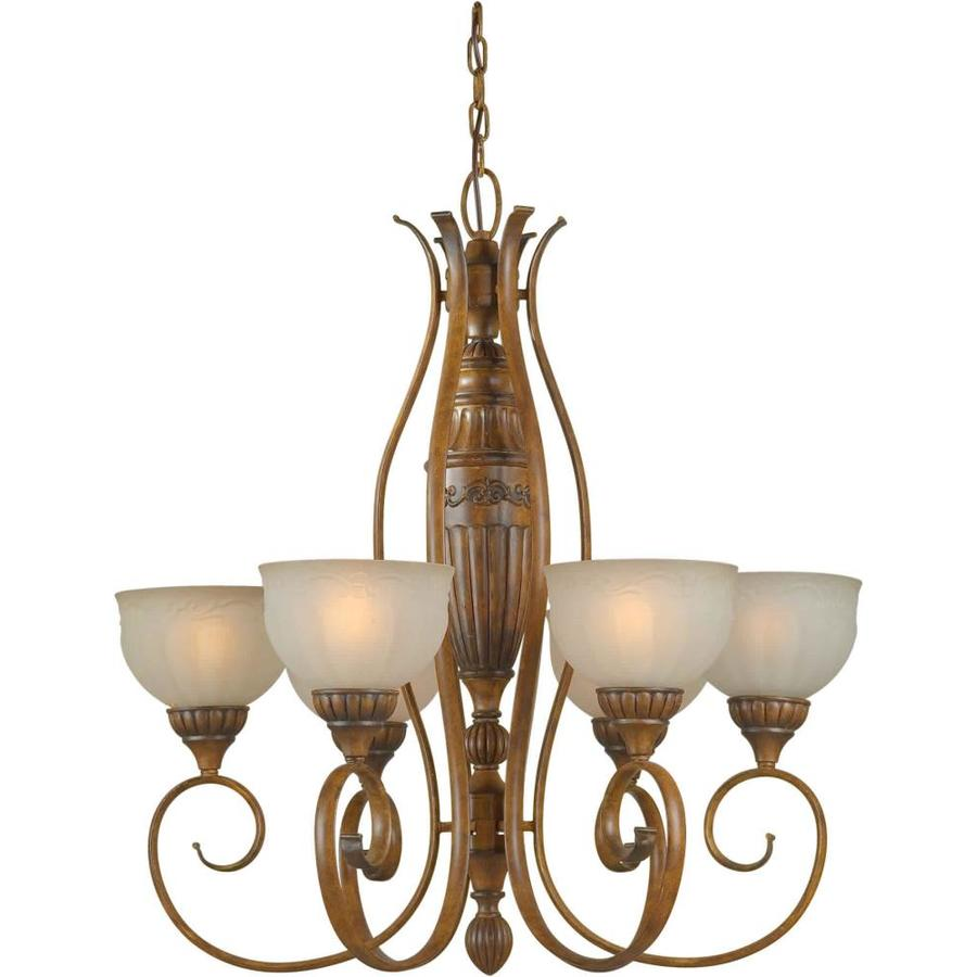 Shandy 28-in 6-Light Rustic Sienna Tinted Glass Candle Chandelier