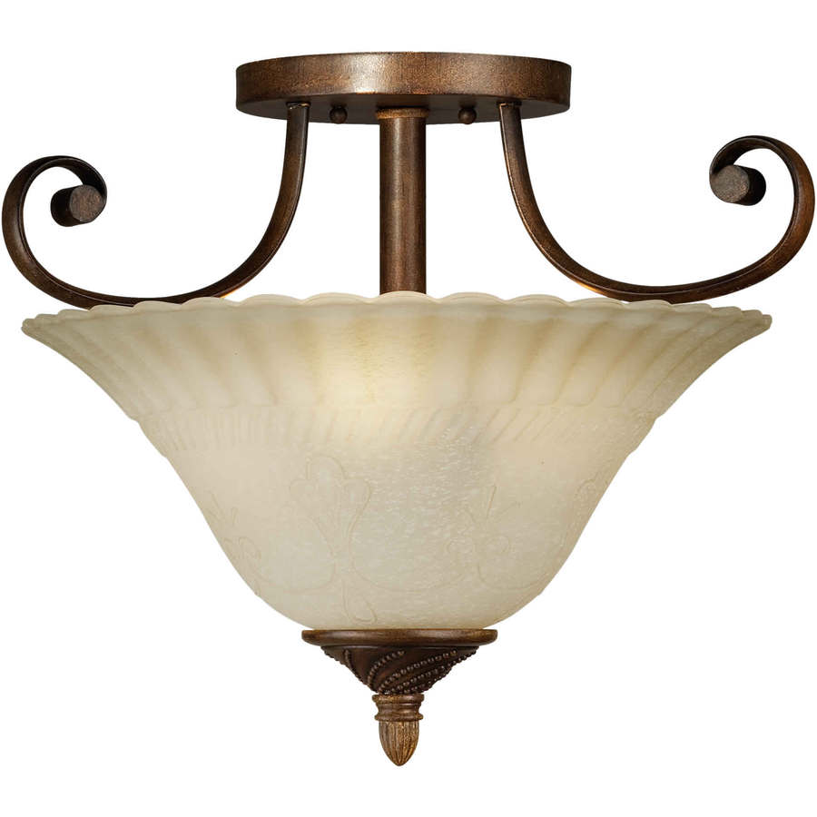 17.5-in W Rustic Sienna Tea-Stained Glass Semi-Flush Mount Light