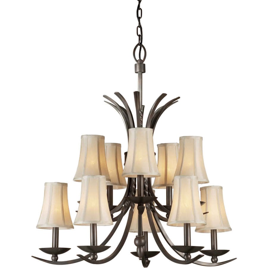 Shandy 29-in 10-Light Antique Bronze Tinted Glass Tiered Chandelier