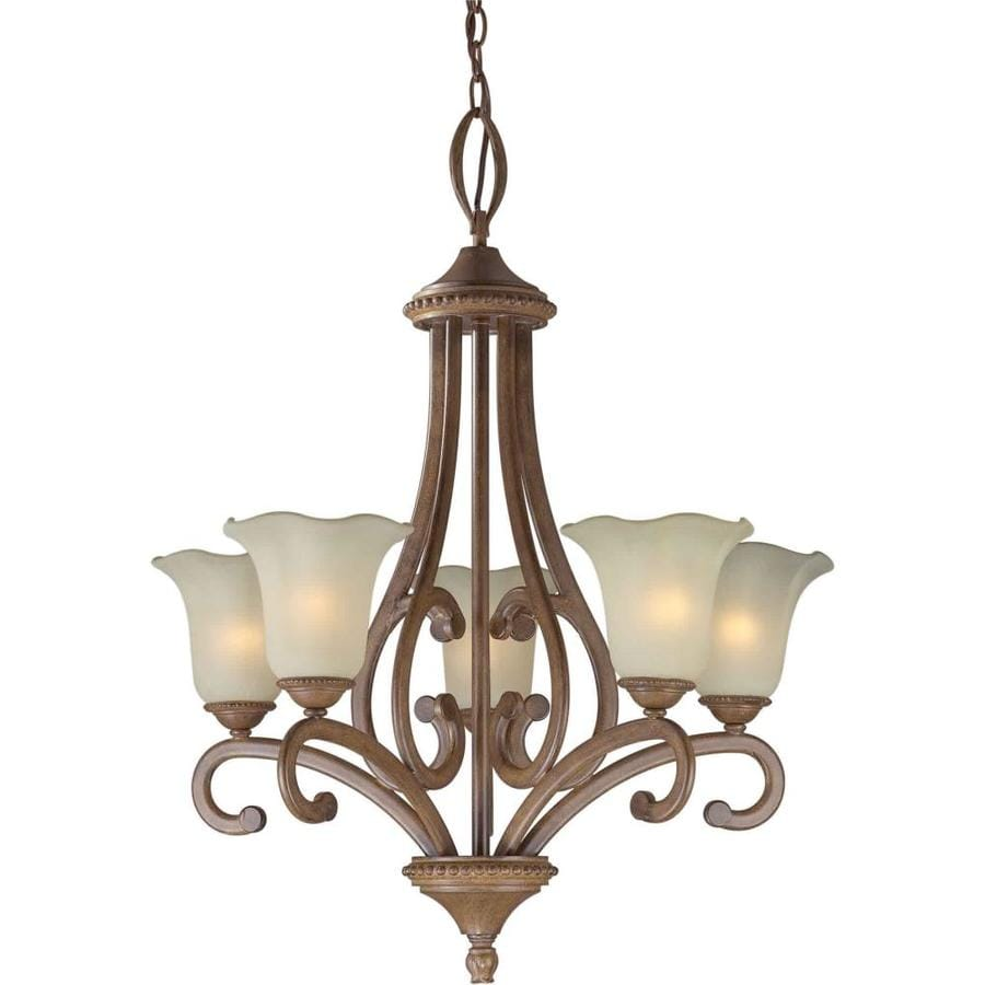 Shandy 24.5-in 5-Light Rustic Sienna Tinted Glass Candle Chandelier