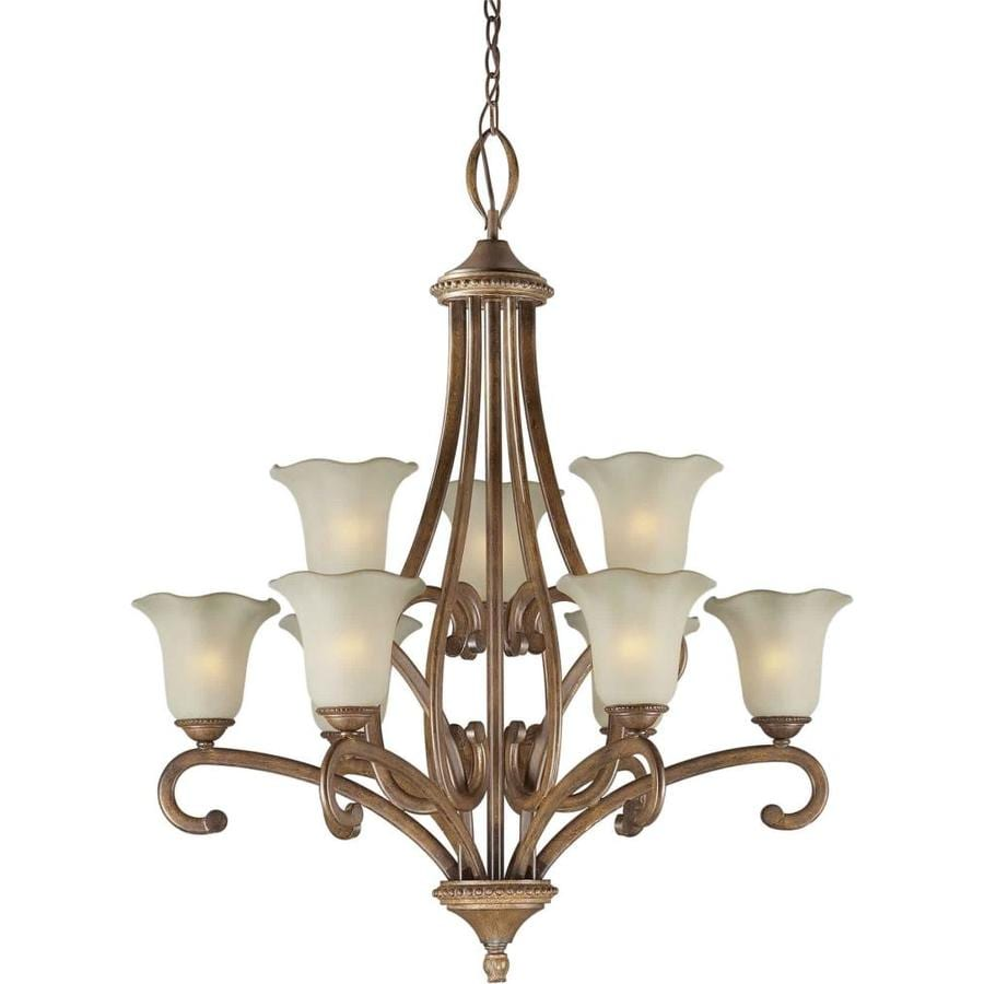 Shandy 33-in 9-Light Rustic Sienna Tinted Glass Candle Chandelier