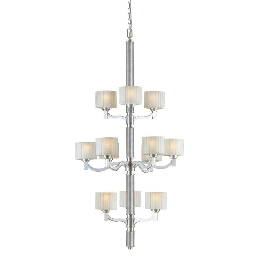 Shandy 28-in 12-Light Brushed Nickel Tinted Glass Candle Chandelier