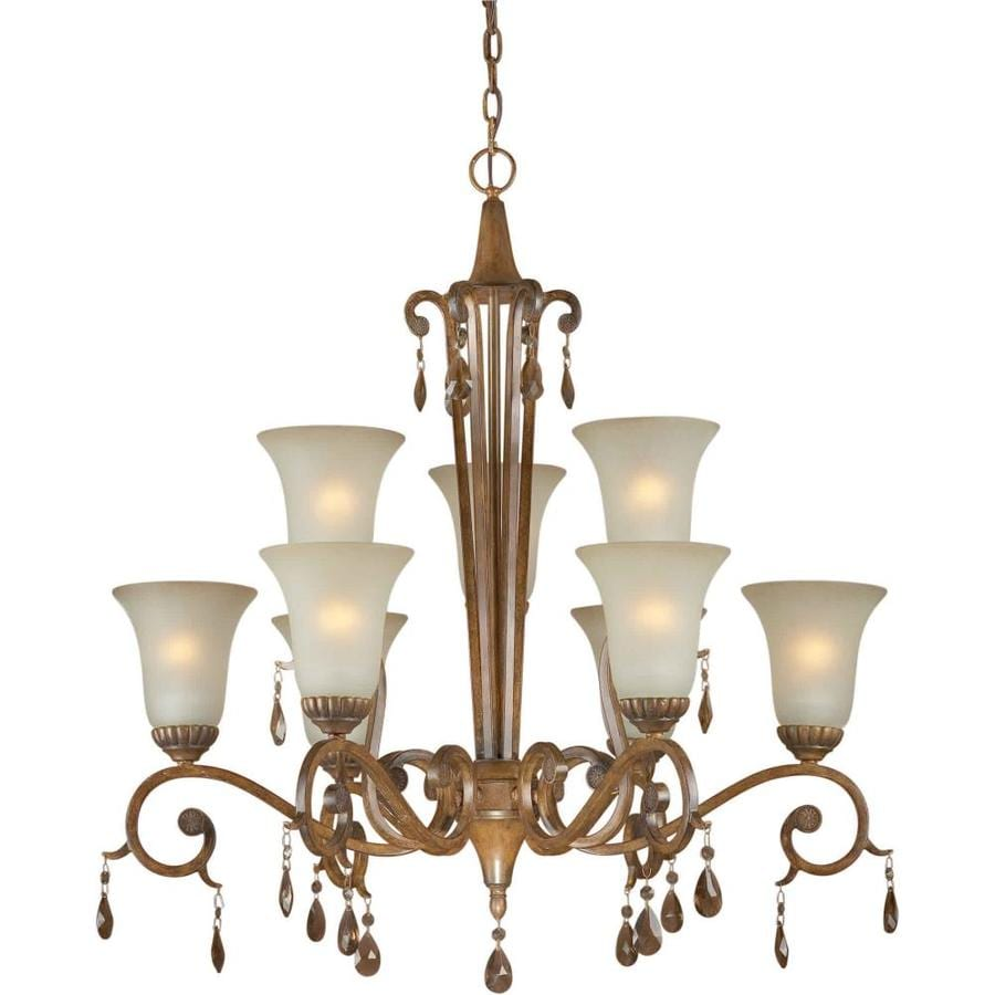 Shandy 33-in 9-Light Rustic Sienna Tinted Glass Tiered Chandelier