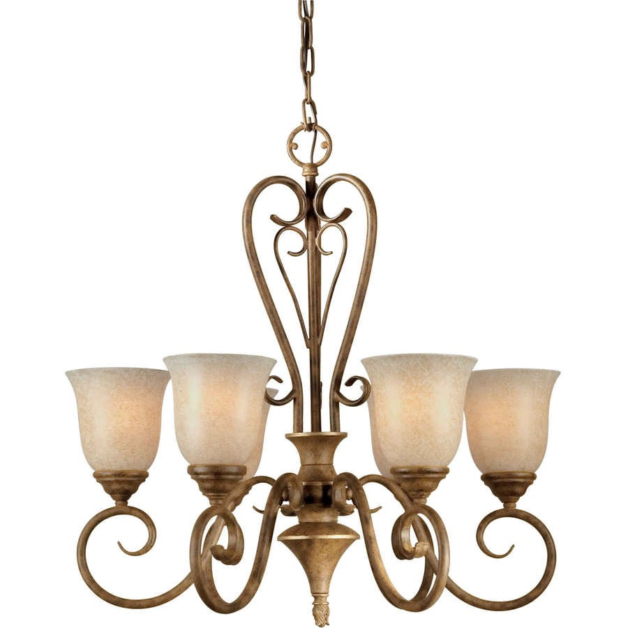 Shandy 24-in 6-Light Chestnut Tinted Glass Candle Chandelier