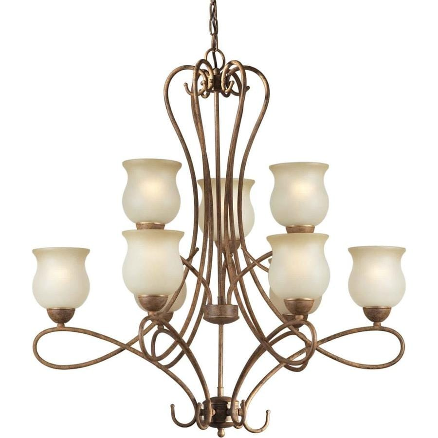 Shandy 32-in 9-Light Chestnut Tinted Glass Candle Chandelier
