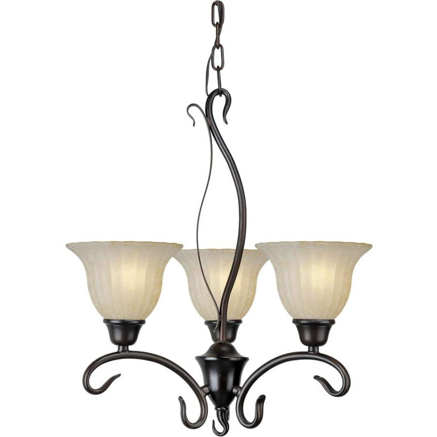 Shandy 18-in 3-Light Antique Bronze Tinted Glass Candle Chandelier