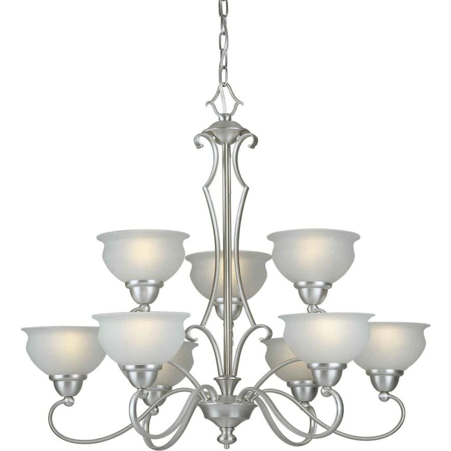 Shandy 32-in 9-Light Brushed Nickel Tiered Chandelier