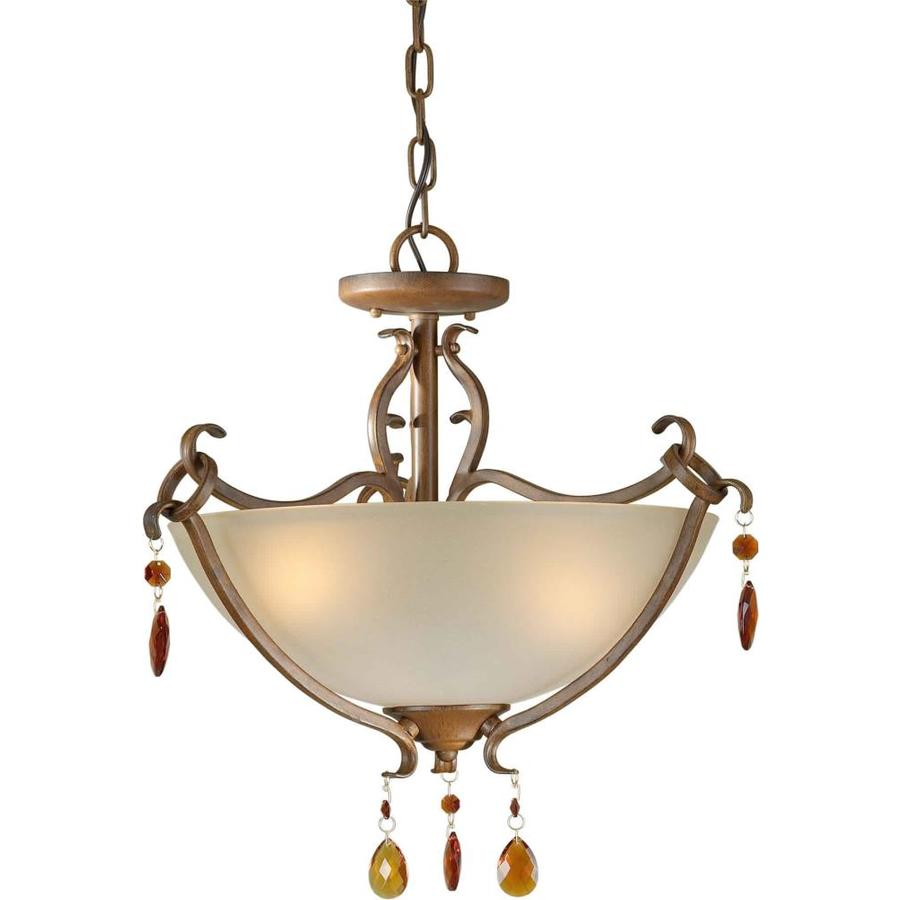 17.75-in W Rustic Sienna Tea-Stained Glass Semi-Flush Mount Light