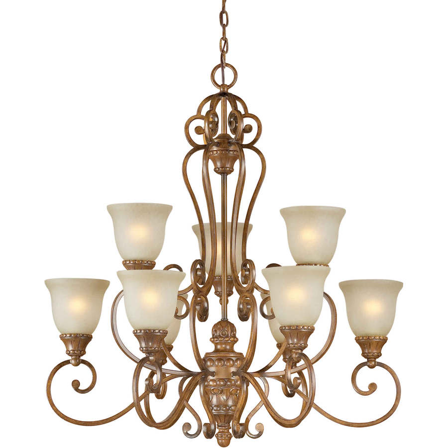 Shandy 34-in 9-Light Rustic Sienna Tinted Glass Tiered Chandelier