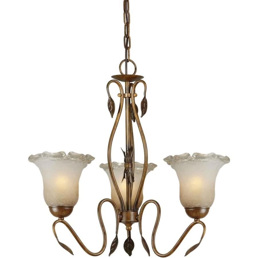 Shandy 20-in 3-Light Rustic sienna Tinted Glass Candle Chandelier