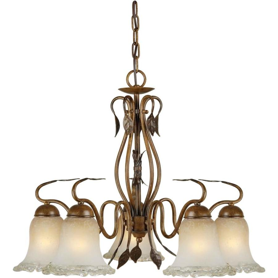 Shandy 24-in 5-Light Rustic Sienna Tinted Glass Candle Chandelier