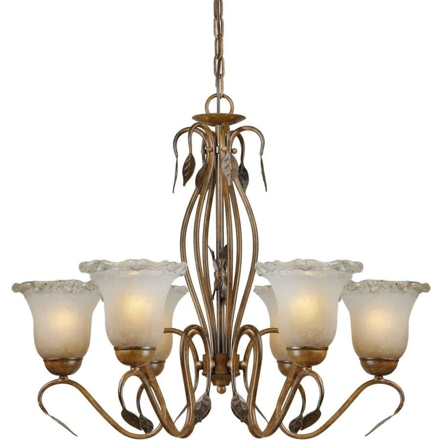 Shandy 26-in 6-Light Rustic sienna Tinted Glass Candle Chandelier