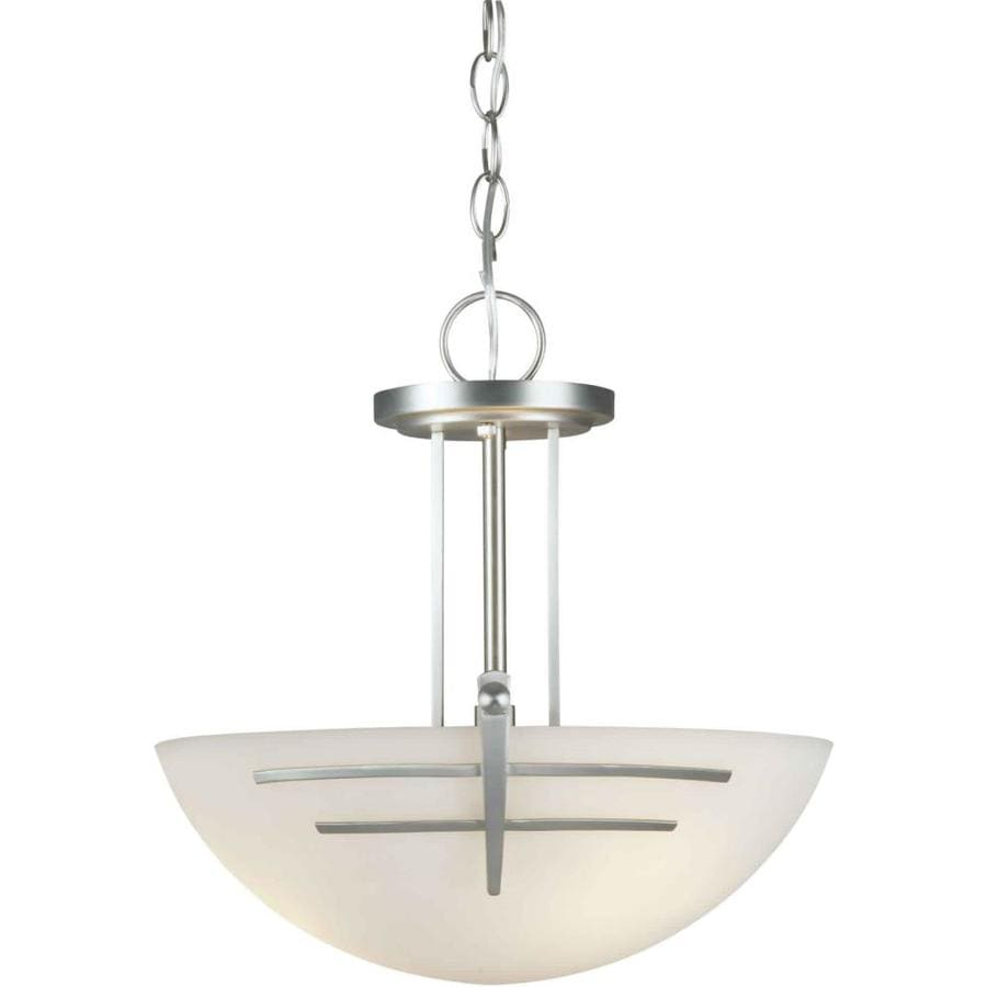 16-in W Brushed Nickel Frosted Glass Semi-Flush Mount Light