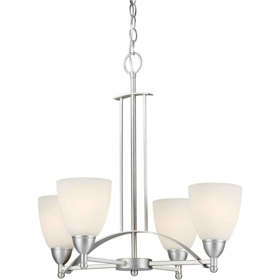 Shandy 22-in 4-Light Brushed Nickel Candle Chandelier
