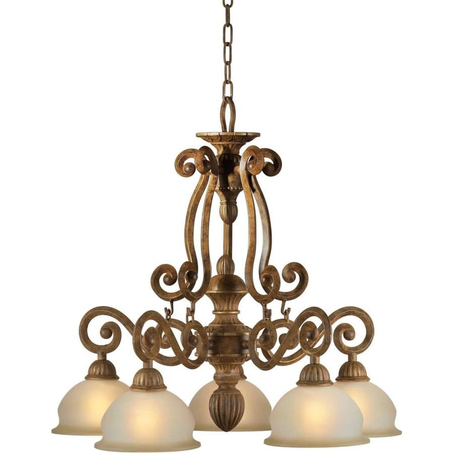 Shandy 24-in 5-Light Chestnut Tinted Glass Candle Chandelier