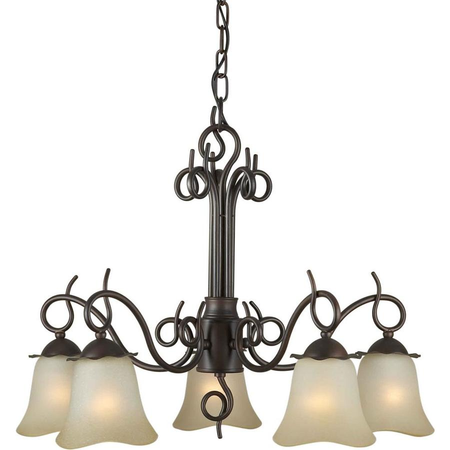 Shandy 24-in 5-Light Antique Bronze Tinted Glass Candle Chandelier