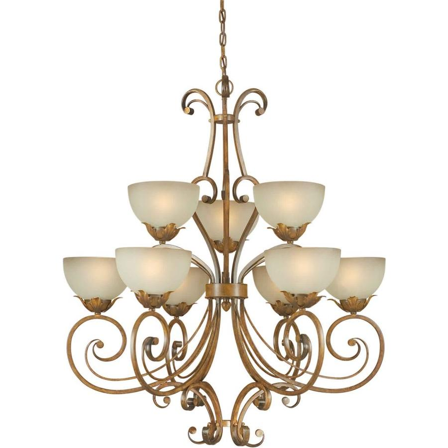 Shandy 35.5-in 9-Light Rustic Sienna Tinted Glass Tiered Chandelier