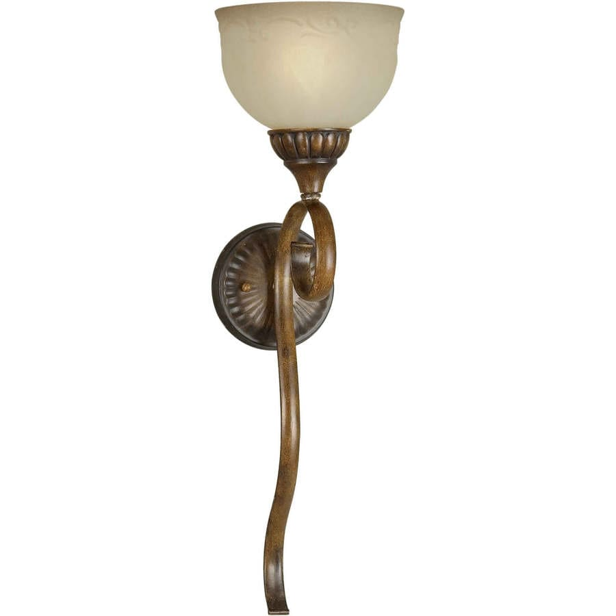 Rustic Wall Sconces Lowes : Shop Shandy 7-in W 1-Light Rustic Sienna Arm Wall Sconce at Lowes.com