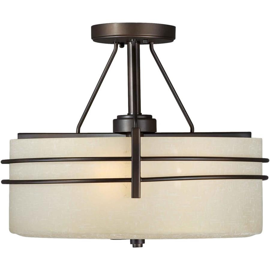16-in W Antique bronze Tea-stained Glass Semi-Flush Mount Light