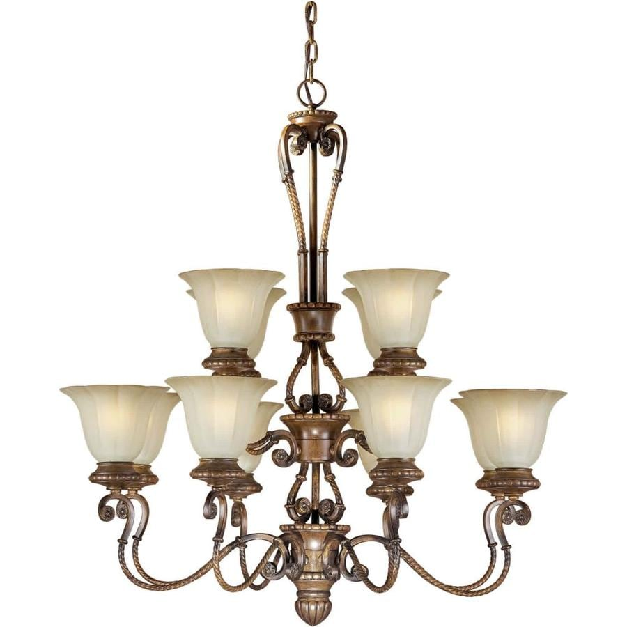 Shandy 34-in 12-Light Rustic Sienna Tinted Glass Tiered Chandelier
