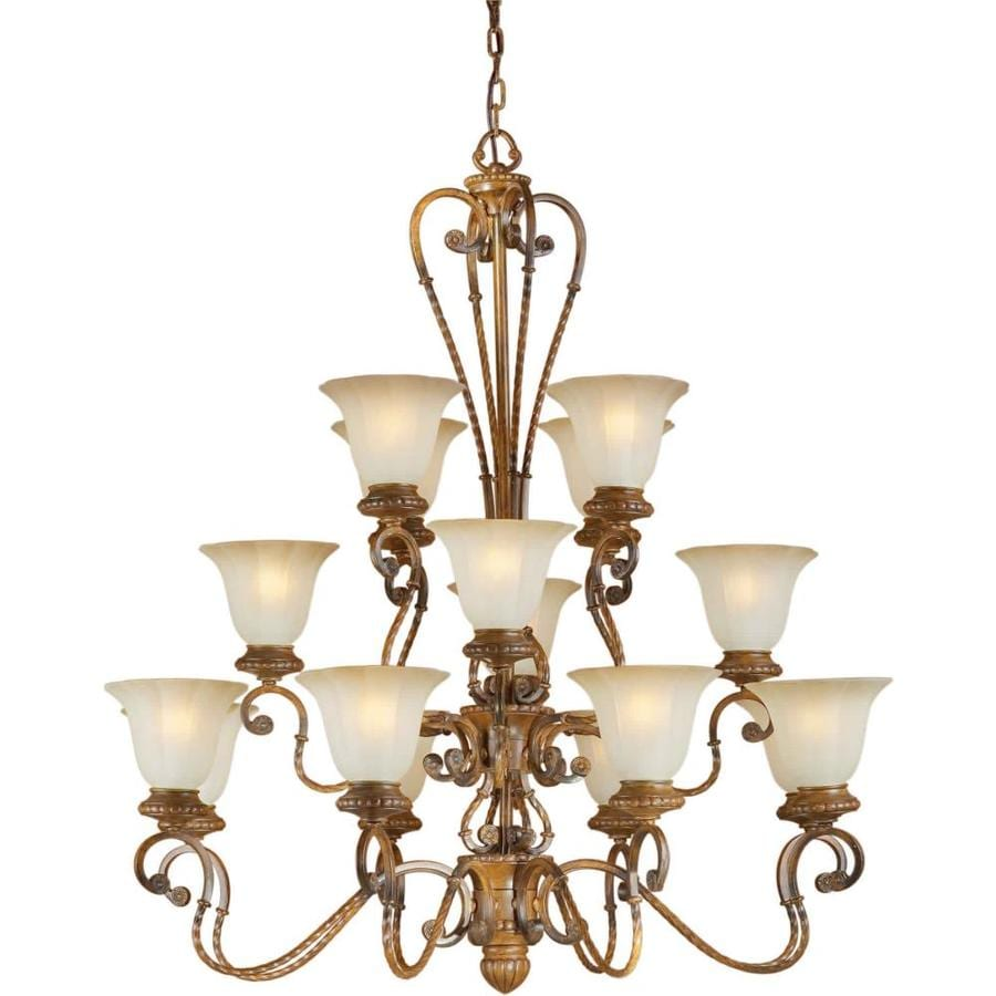 Shandy 40-in 16-Light Rustic Sienna Tinted Glass Tiered Chandelier