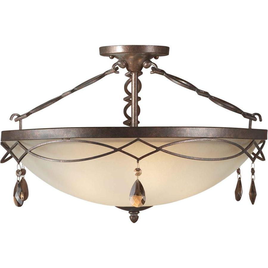 21.5-in W Black Cherry Tea-Stained Glass Semi-Flush Mount Light