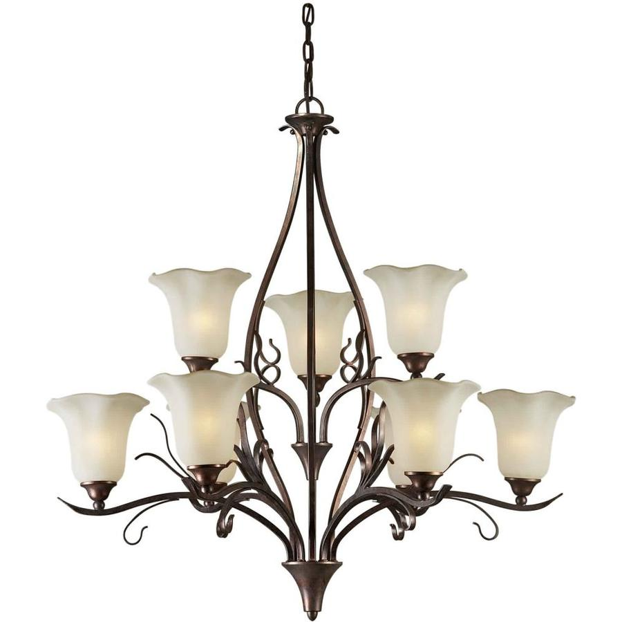 Shandy 35-in 9-Light Black Cherry Tinted Glass Candle Chandelier