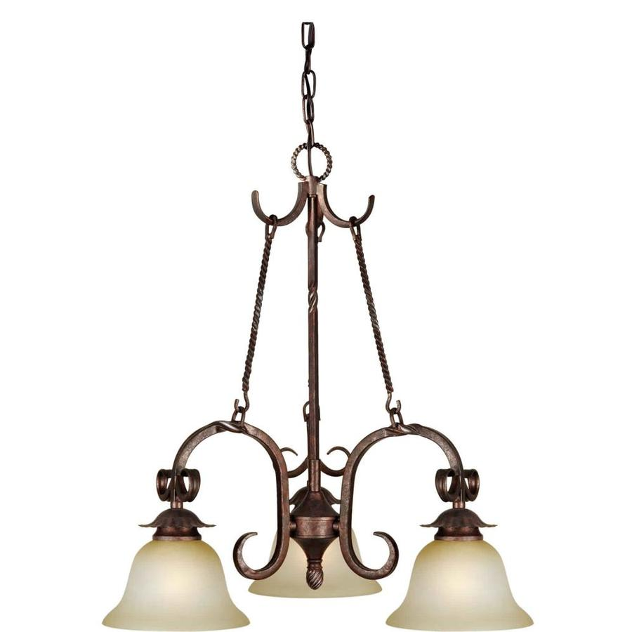 Shandy 21-in 3-Light Black Cherry Tinted Glass Candle Chandelier