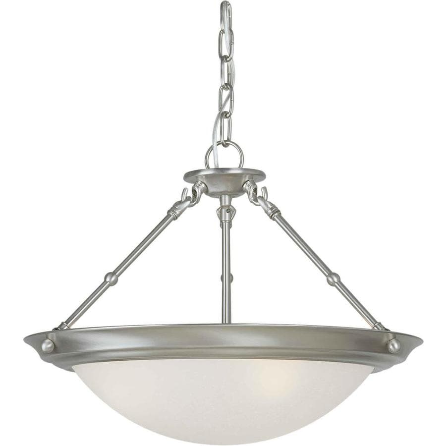 18-in W Brushed Nickel Frosted Glass Semi-Flush Mount Light