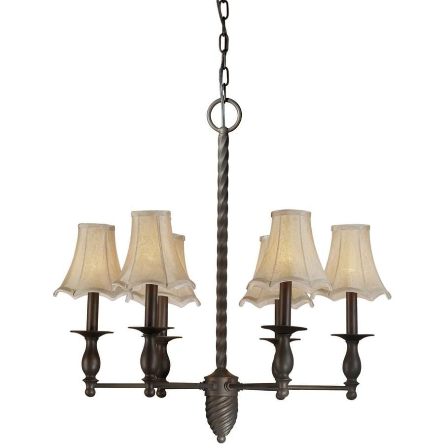 Shandy 26-in 6-Light Antique Bronze Tinted Glass Candle Chandelier