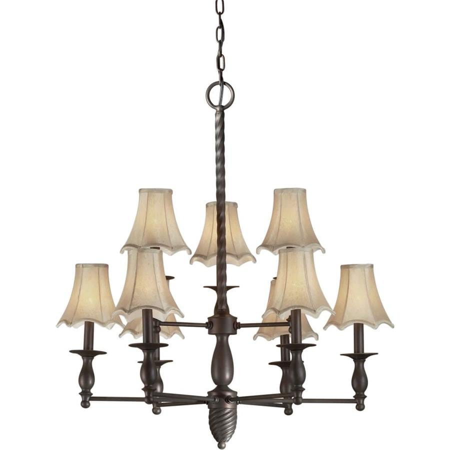 Shandy 30-in 9-Light Antique Bronze Tinted Glass Tiered Chandelier