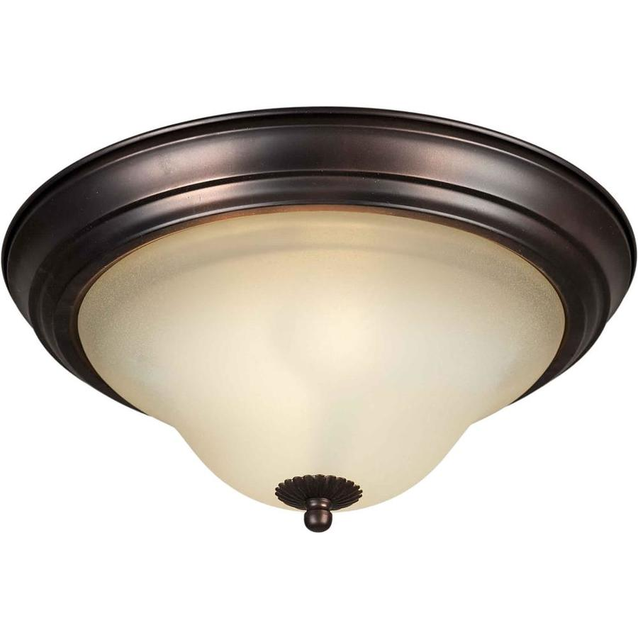 11.25-in W Antique Bronze Standard Flush Mount Light
