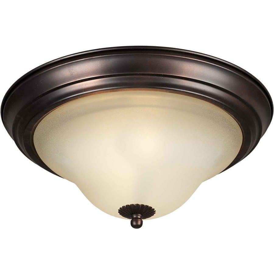 15.25-in W Antique Bronze Ceiling Flush Mount Light