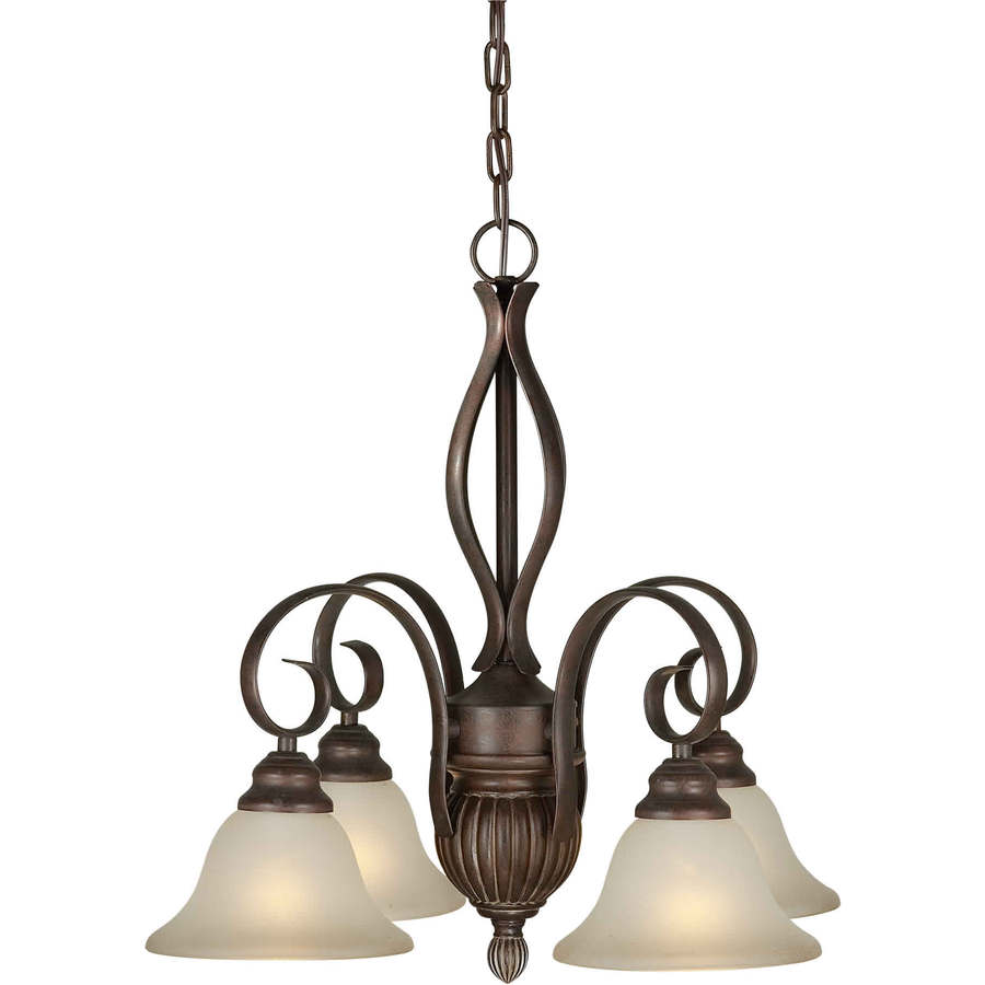 Shandy 23-in 4-Light Black Cherry Tinted Glass Candle Chandelier