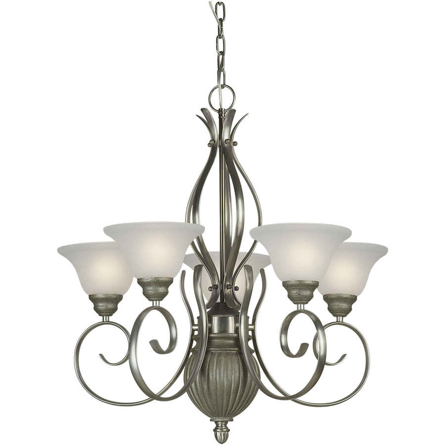 Shandy 25-in 5-Light River Rock/Nickel Candle Chandelier