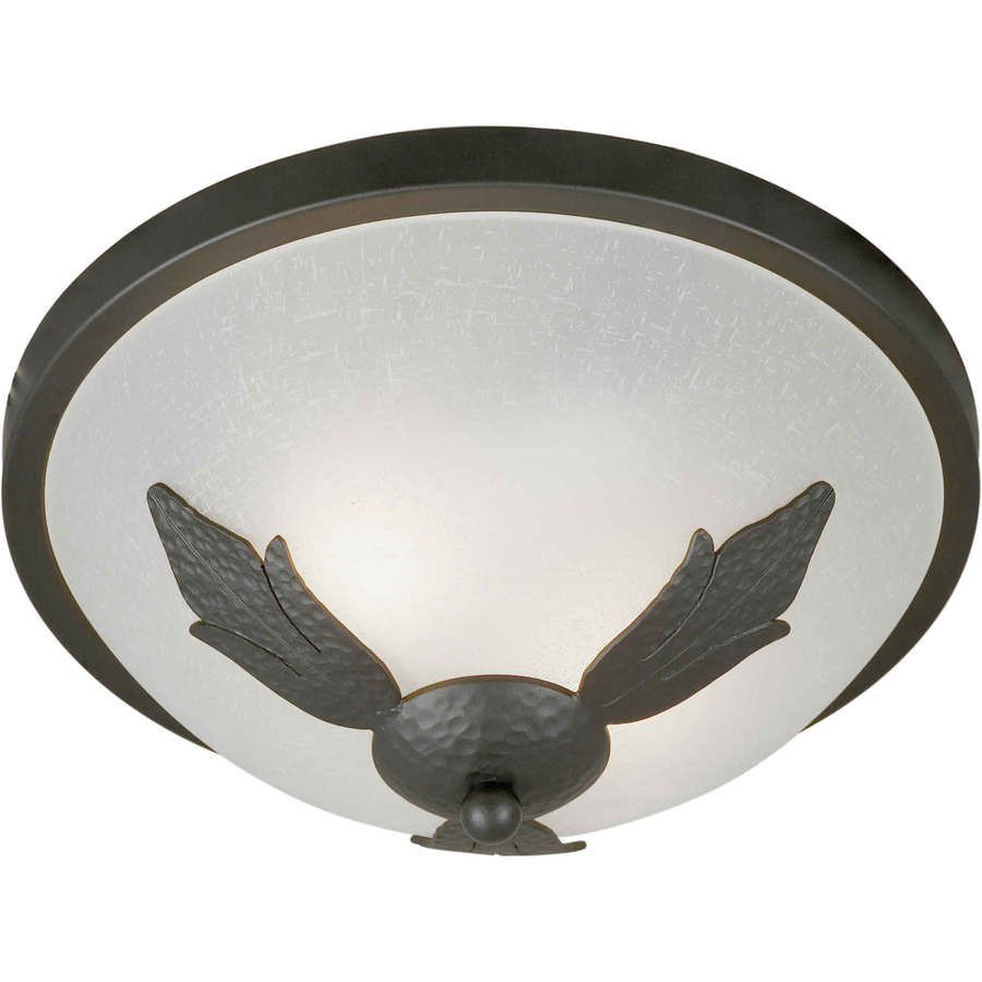 13-in W Natural Iron Flush Mount Light