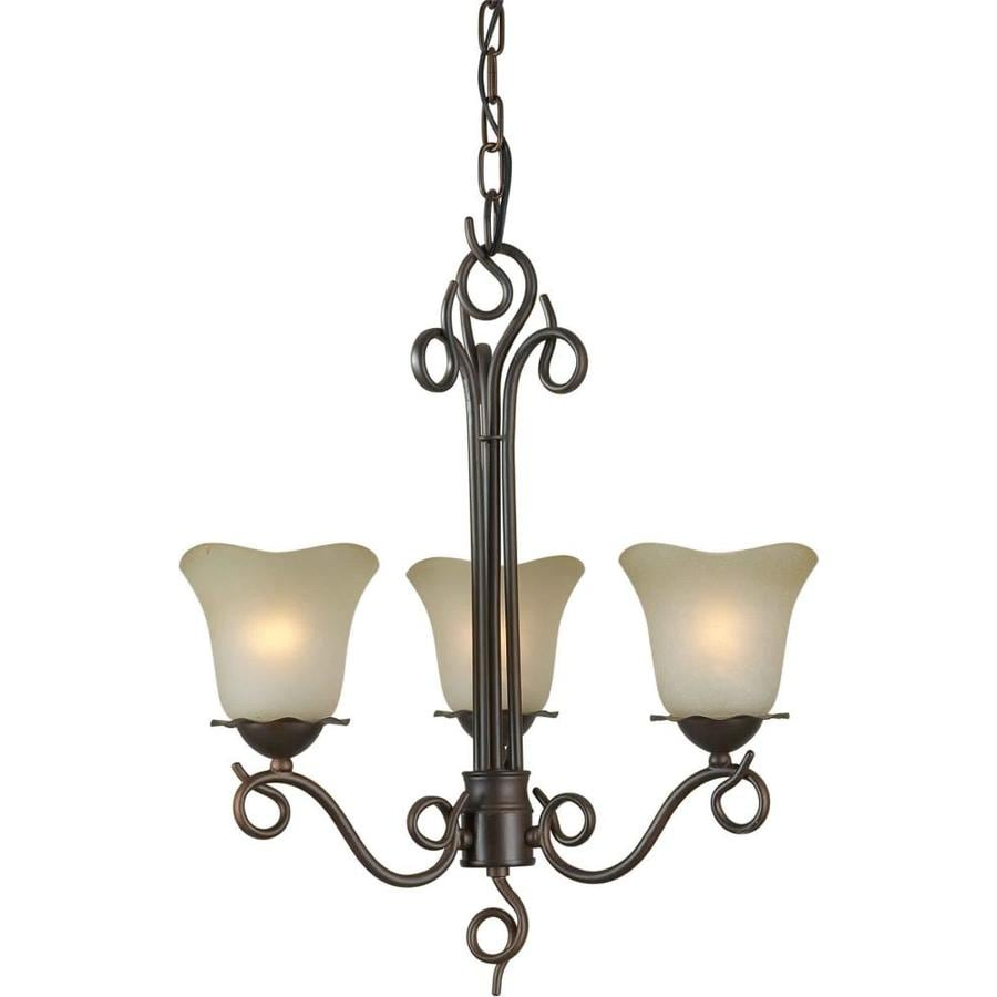 Shandy 17-in 3-Light Antique Bronze Tinted Glass Candle Chandelier