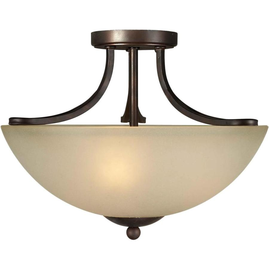 16.5-in W Antique Bronze Tea-Stained Glass Semi-Flush Mount Light