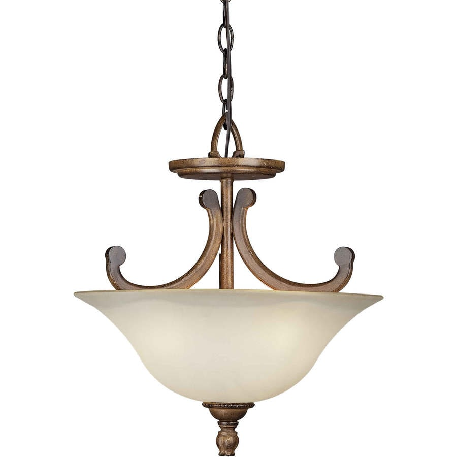16.5-in W Rustic Sienna Tea-Stained Glass Semi-Flush Mount Light